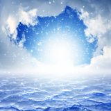 Heaven. Peaceful background - blue sky, bright sun, heaven royalty free stock image