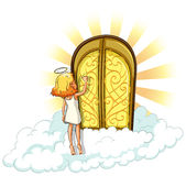 Heaven. Angel knocking on the heaven door Royalty Free Stock Photo