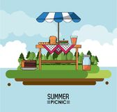 Heaven background poster of summer picnic with outdoor landscape of table with sunshade and foods Stock Image