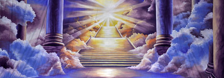Heaven background. Theatre backdrop featuring the entrance to heaven Stock Photos