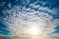 Heaven  - blue sky, beautiful white clouds. Royalty Free Stock Image