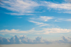 Heaven  - blue sky, beautiful white clouds, sunshine. Background Royalty Free Stock Image