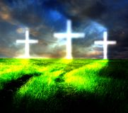 Heaven cross and horizon Stock Image