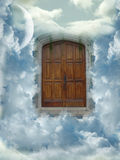 Heaven door. With clouds and moon Stock Images