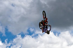 Between Heaven and Earth. Motorbike stunt riders entertain the public with high flying acrobatics at the annual Republic of Texas biker rally, held every year Stock Images