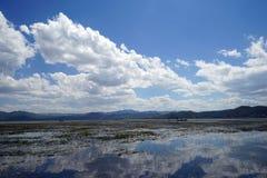 Between heaven and earth. Lashi hai is a lake near lijiang china royalty free stock image