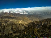 Heaven on earth upper mustang with mountain ranges and ranges of hills royalty free stock image
