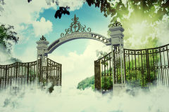 Heaven gate. In an old illustration Stock Photo