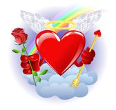 Heaven heart. Heart from heaven with rose Royalty Free Stock Image
