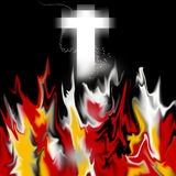 Heaven and Hell. An image showing fire and a religious cross with small stars floating around it. It is for the concept of hope in a lost situation and a belief Stock Image