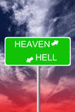 Heaven and hell. Choosing the road to heaven or hell Stock Photo