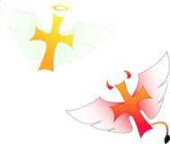 Heaven and hell. Two flying crosses, one for Heavem and one for hell Stock Illustration