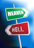Heaven or Hell. Image of signboard showing the direction to heaven and hell Royalty Free Stock Photo