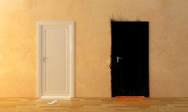 Heaven and Hell. Two doors, for heaven and hell Stock Photo