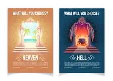 Heaven and hell brochures cartoon vector template stock illustration