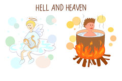 Heaven and hell cartoon vector illustration. Royalty Free Stock Image