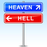 Heaven and hell directional signs Royalty Free Stock Photos