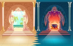 Heaven and hell gates cartoon vector concept. Moral choice, afterlife reward or payoff cartoon vector concept. Heaven and hell gates with figures of praying stock illustration