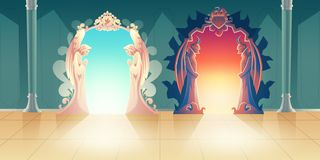 Heaven and hell entrances cartoon vector concept stock illustration