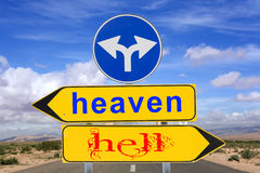 Heaven and hell road sign warning Stock Images