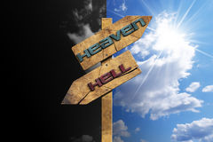 Heaven and Hell - Sign on Blue Sky Royalty Free Stock Photo