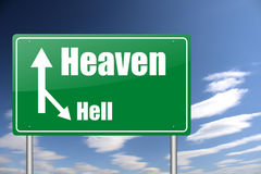 Heaven and hell traffic sign royalty free illustration