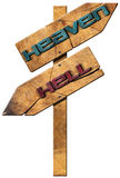 Heaven and Hell - Wooden Directional Sign Stock Images