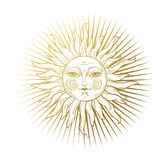 Heaven illustration, stylized vintage design, sun with face, hand drawing, engraving. Mystical design element in boho