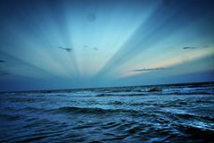 Heaven. Rays of light over the ocean Stock Photography