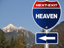 Heaven road sign. With nature view royalty free stock photo