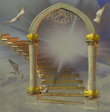 Heaven`s gate. With doves Stock Photo