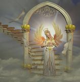 Heaven`s gate. With angel and doves Stock Images