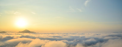 Heaven. The sea of mist in morning Stock Photography