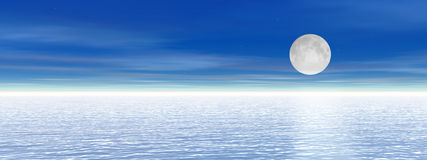 Heaven and sea, night with moon Royalty Free Stock Image