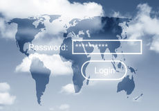 Heaven security. Security concept with password request over world map in sky Royalty Free Stock Image