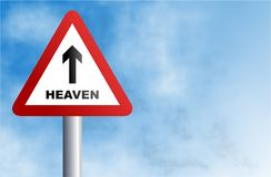 Heaven sign. Traffic warning sign with a heaven bound message against a sky background Royalty Free Stock Images