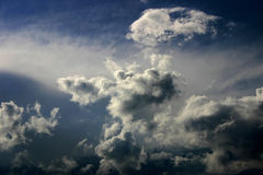 Heaven sky. Deep blue sky with white clouds on fresh wind Stock Photos