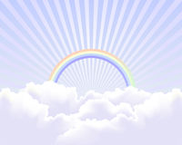Heaven in the sky background. Vector illustration of heaven or similar, with white clouds, sun beams and rainbow, related to peace, purity, christianity Stock Photos