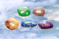 Heavenly affirmation stones Royalty Free Stock Photography