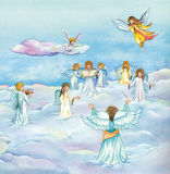 Heavenly Angels choir singing in heaven. Heavenly Angels choir singing over beautiful clouds. Christmas watercolor illustration Royalty Free Stock Photos