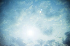 Heavenly bright blue sky with sun flare Royalty Free Stock Images