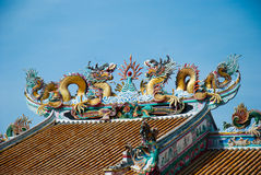 The Heavenly Dragon statue, located in the city centre of Suphan Stock Photos
