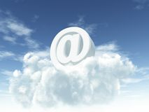 Heavenly email. White email alias on clouds - 3d illustration Royalty Free Stock Images