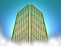 Heavenly Gates. Heavenly golden gates floating in clouds on a enlightened background Royalty Free Stock Photography