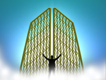 Heavenly Gates with Man. Heavenly golden gates floating in clouds on a enlightened background with silhouette of a man Royalty Free Stock Image