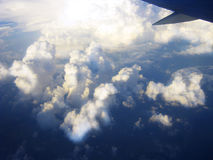 Heavenly journey. Flying over the coast of the Black Sea Royalty Free Stock Images