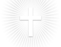 Heavenly Light and Cross. White Cross over a heavenly light Royalty Free Stock Photos