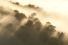 Heavenly light on hills. Sun rays shining through stormy clouds Stock Image