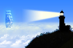 Heavenly lighthouse. Light blue background with lighthouse and sail Stock Photo
