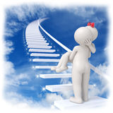 Heavenly love - 3d couple. 3d man carrying his lady up to the sky on stairs with shiny stars Royalty Free Stock Image